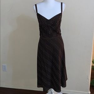 Ann Taylor brown and white polkadot dress